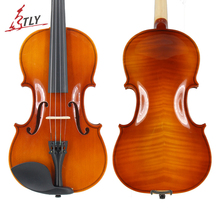 TONGLING Students Beginner Acoustic Violin Oil Varnish Craft Stripe Solid Wood Violino for Kids w/ Case Mute Bow Strings