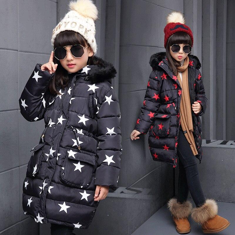 цены New Girls Winter Coats Gaueey Thicken Baby Girls Winter Jackets Fur Collar Kids Winter Jackets For Girls Star Children Jackets