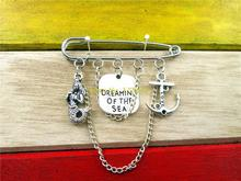 Dreaming Sea Little Antique Silver Mermaid /love Anchor Pin