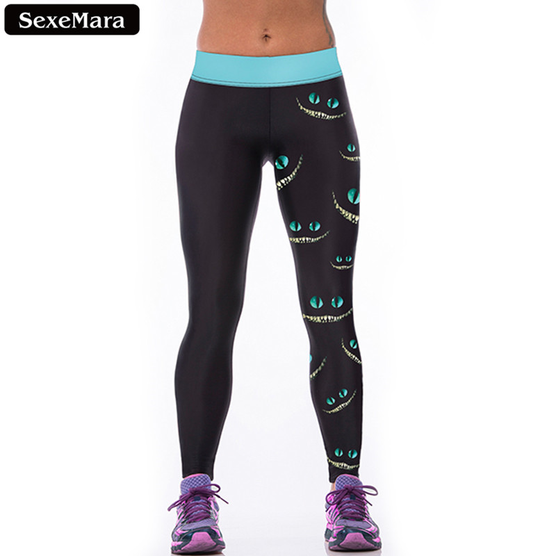SexeMara Favorit Cheshire Cat Leggings Kvinder Elastisk Populær High Waist Sporting Leggin Print Skinny Gothic Fitness Bukser F1527