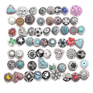Image 3 - 50 pz/lotto Stile Misto 18mm Bottoni a pressione In Metallo Jewelry 50 Disegni Zenzero Scatto di Cristallo Fit 18mm Snap Bracelet braccialetti Collana