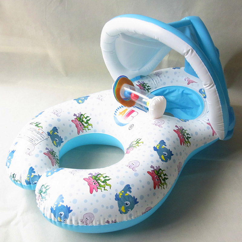 40 Inches Baby Swimming Circle Seat Inflatable Mattress Safe Ring With Mother Awning Pontoon Pool Float Island Toy Bed Boat Kids