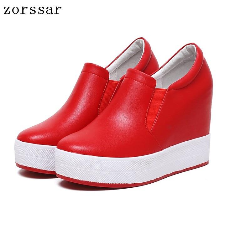 Slip Mujer blanc Sur Augmentation forme Casual Hauteur Plate Zapatos Vache Zorssar Cales Cuir Talons Femmes La Haute Chaussures En Marque rouge Noir De Mode Creepers v7wn1ZnEqS
