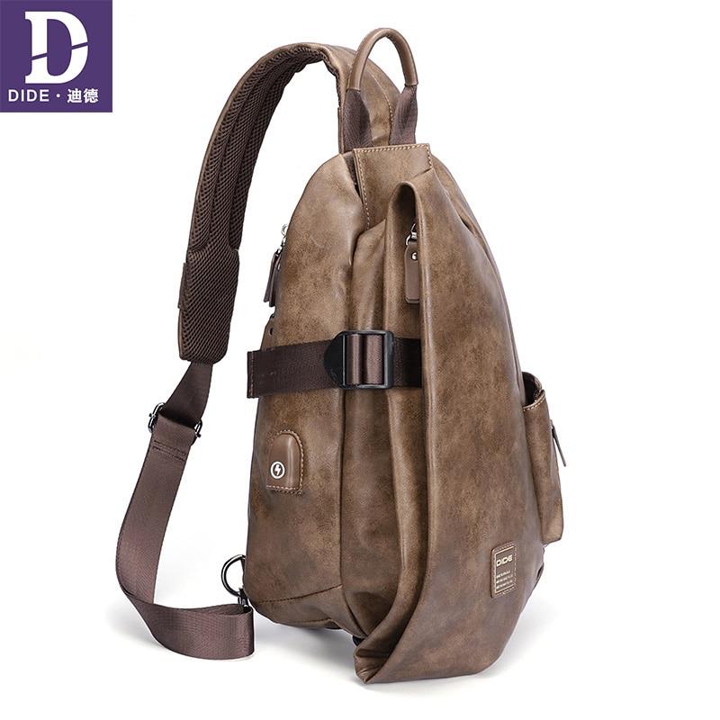 DIDE Vintage USB charging Chest Bag Men Leather Shoulder Crossbody Bags Men s Travel Large capacity