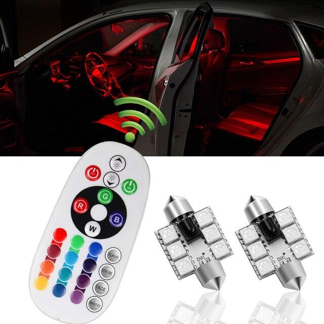 2 шт. RGB 5050 6SMD Festoon светильник C5W купольный Автомобильный светодиодный авто мобильный авто с дистанционным управлением цветная лампа для чтен...