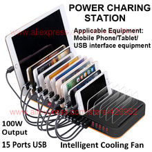 100-240V Multi 15 Ports Desktop Universal USB Power Smart Charging Station 100W Extension