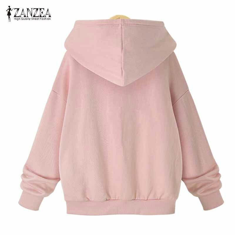 Plus Size ZANZEA Winter Warm Hooded Long Sleeve Drawstring Coat Casual Solid Zip Up Sweatshirt Women Loose Jacket Outwear 2018