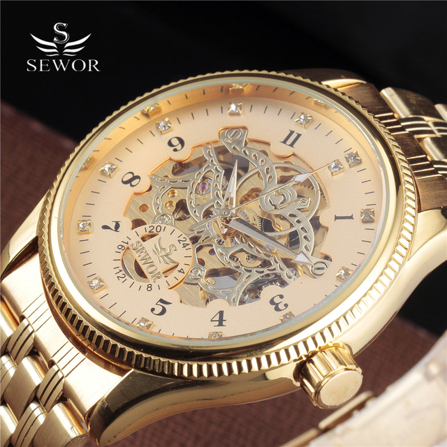 Top Luxury Sewor Big Automatic Military Watch Men Gift Gold Stainless Steel Diamond Skeleton Clock Mechanical Mens Wrist Watches