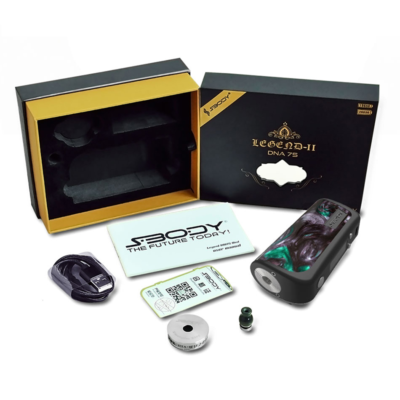 Original Legend DNA75 Mod Colorful Resin Box Mod Evolv DNA 75 Chipset With Resin Drip Tip Electronic Cigarettes