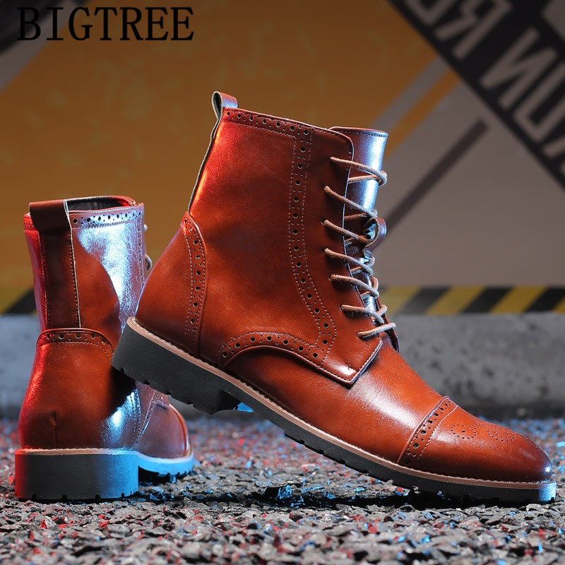 Italian Fashion Leather Cowboy Boots Men Brogue Shoes Men Classic New Arrival 2020 Military Boots Ankle Boots Men Ayakkabi Motorcycle Boots Aliexpress