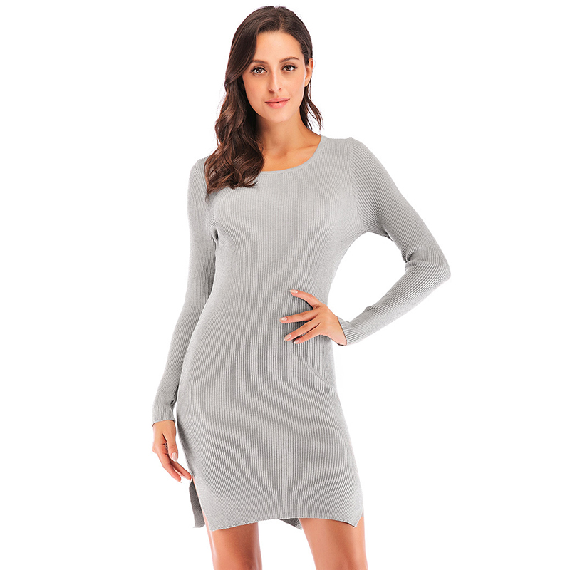 Hiver femmes pull robe à manches longues O cou solide moulante robe solide Split Mini crayon robe femme vestidos