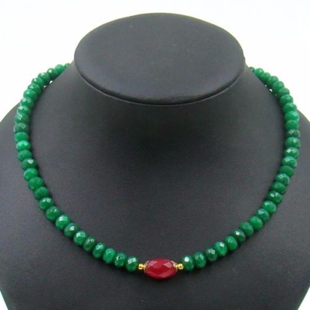 Vintage Classic Laboratory-created Natural Stone Jewelry Handmade Emeralds  Beaded Strand Necklace with Rubies 46cm