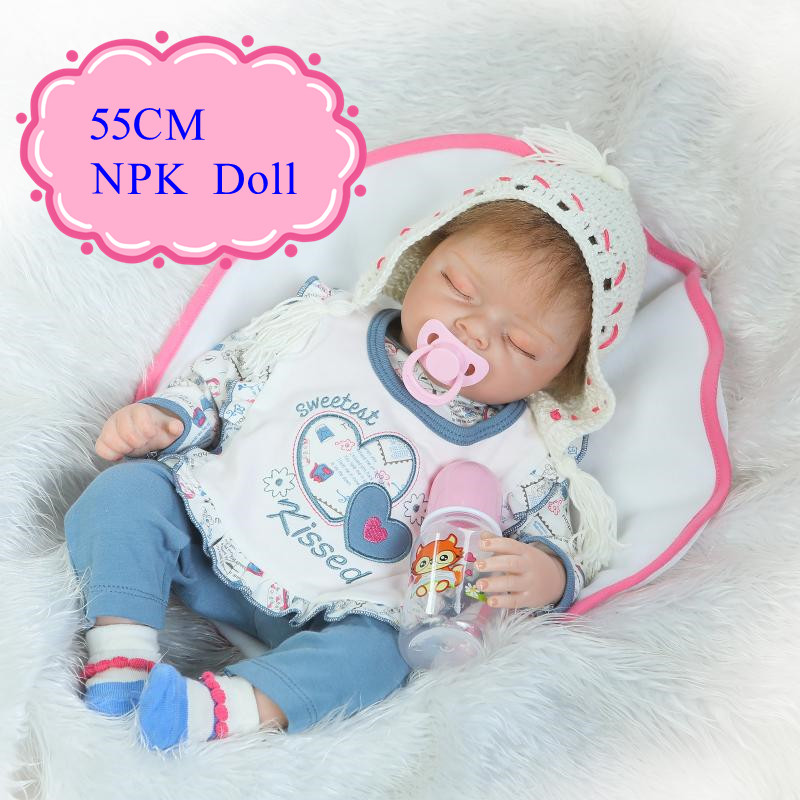 Hot Style 55cm NPK Bonecas Bebe Reborn 22inch Sleeping Real Baby Dolls For Kids As Christmas Gift Girl Brinquedos Real Doll new arrival 18inch doll npk american sweet girl with curly long hair in floral skirt dress bonecas bebe kids gift brinquedos