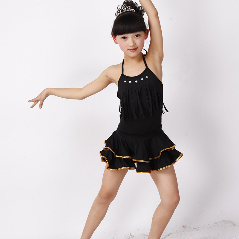 kids salsa dresses latin dance dress for girls fringe dancing dancewear stage samba vestidos bailes de salon latino Summer dress