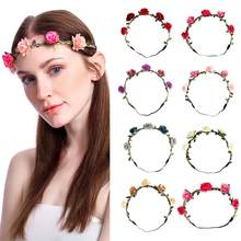 2019 Floral Fashion Headband for Beatuiful Girls Bride Bridesmaid Party Wedding Flower Crown Wreath Hair Bands Accessories #D(China)