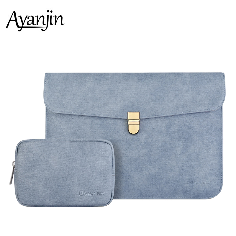 New Fashion Waterproof Matte PU Leather Sleeve Laptop Bag For Macbook Pro 13 Air 13 14 15 Case For Xiaomi Mi Notebook 13.3 Cover