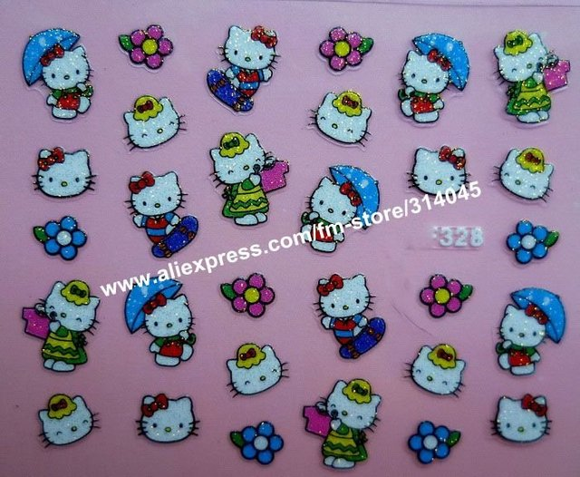 Newest 25 Kinds Hello Kitty Styles Nail Art 3D Hello Kitty Nail Sticker 3D Beauty Nail Patch 3D Nail Seal 100Packs/Lot