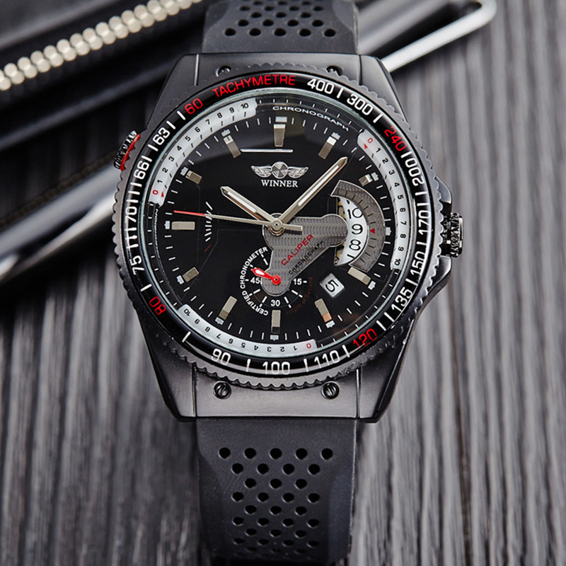 50pcs/lot Winner Brand Silicone Strap Men Watch Cool Black Mechanical Watch For Men Wrap Casual Dress Watch Wholesale Price Chills And Pains Watches