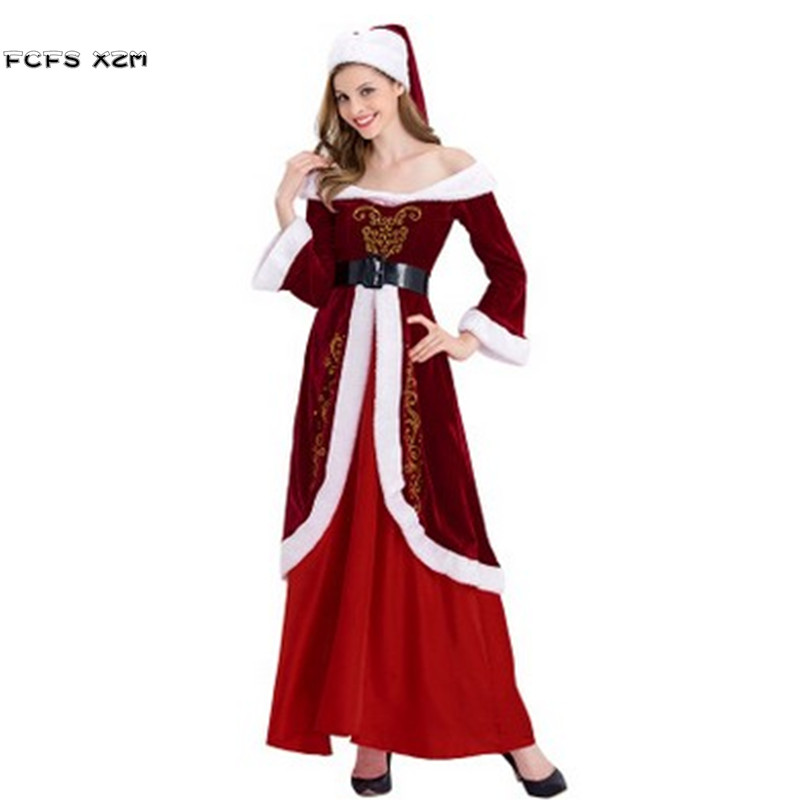 Deluex Printing Women Halloween Santa Claus Cosplay Female Christmas Party Costume Winter pajama Carnival Purim Masquerade dress