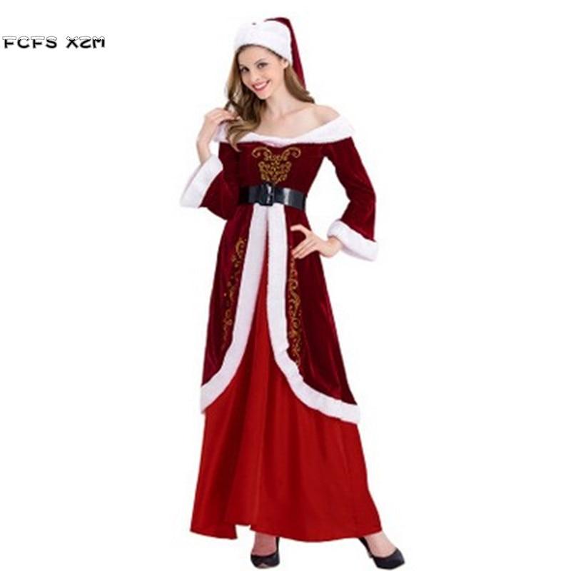 Deluex Printing Women Halloween Santa Claus Cosplay Female Christmas Party Costume Winter pajama Carnival Purim Masquerade dress
