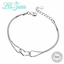 L& Цзуань в форме сердца браслеты для женщины 925 пробы серебряный браслет цепочка Ювелирные украшения обувь девочек Валентин подарки