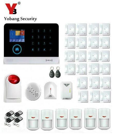 Yobang безопасности-2.4 дюйма Экран WI-FI GSM сигнализации дом Intelligent Auto охранной Стекло разбития Строб Сирена двери сигнал тревоги