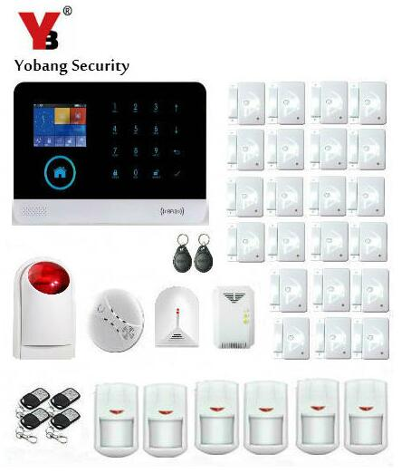 Yobang Security-2.4 Inch Screen WIFI GSM SMS Alarm House Intelligent Auto Burglar Glass Break Detector Strobe Siren Door Alarm yobang security gsm wifi auto dial home alarm system rfid tags intelligent alarma kits glass break sensor strobe siren sensor