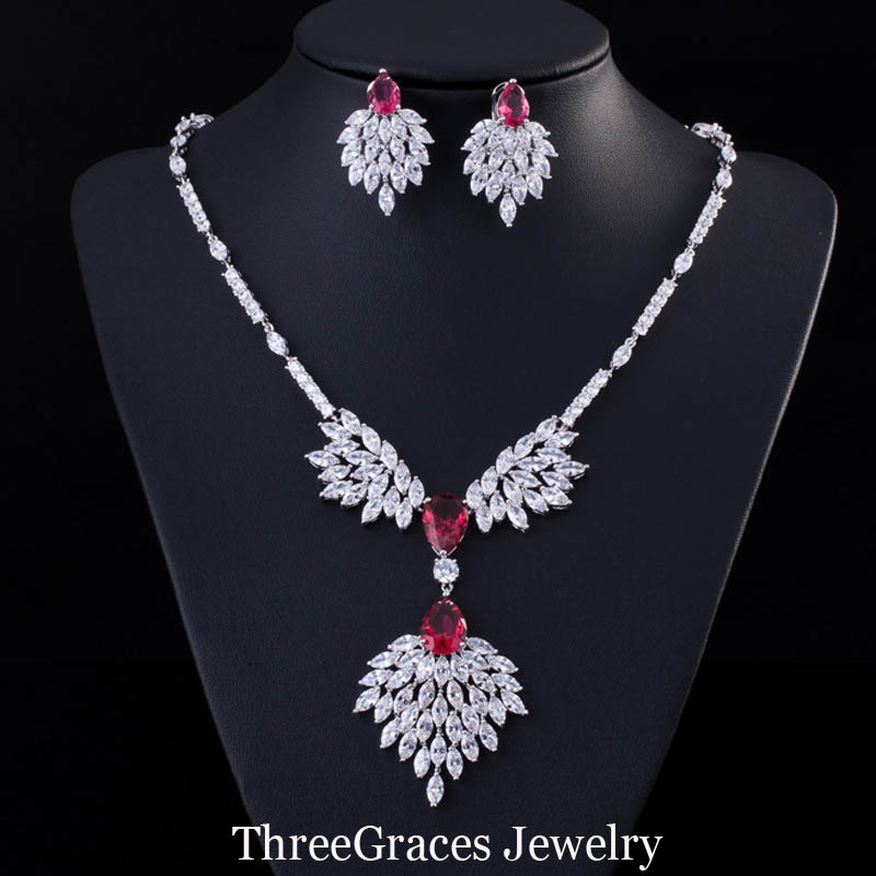 ThreeGraces Famous Brand Design Green Cluster Marquise Cubic Zircon