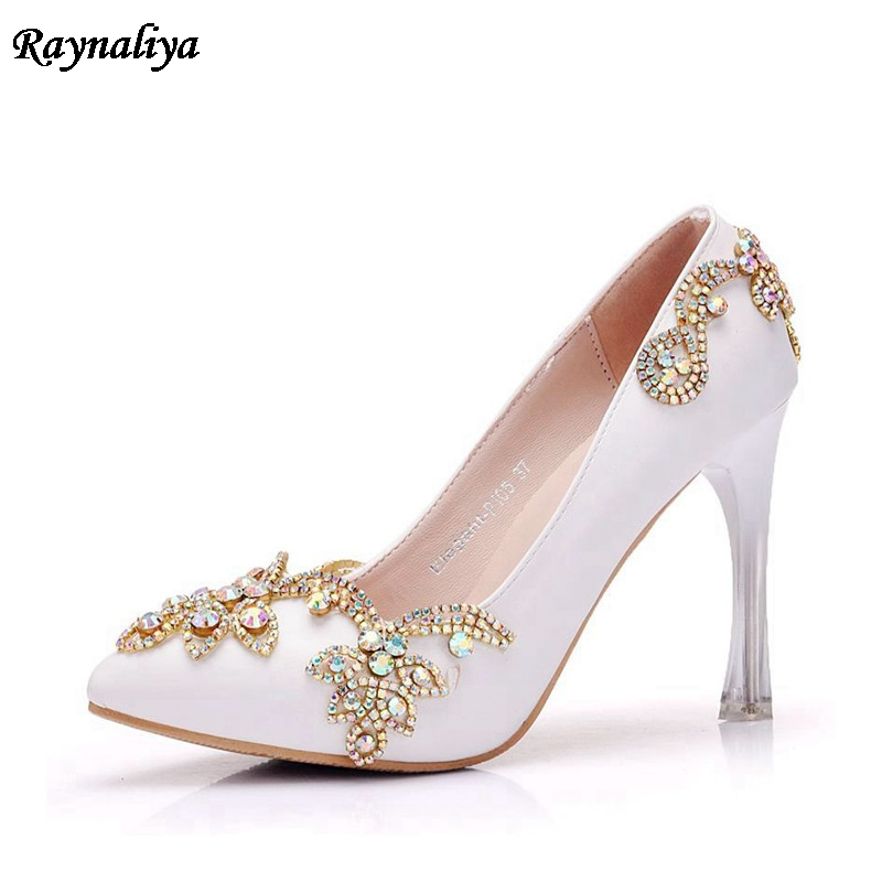New 2018 Spring White Rhinestone Wedding Shoes Pink Bridal Elegant Thin High Heels Pumps Pointed Toe Dress Shoes XY-A0060 pointed toe high heels for wedding party rhinestone covered bridal dress shoes stiletto heel banquet pumps white pink red color