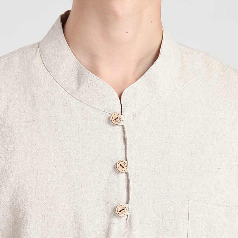 Mùa hè Mới Thời Trang Màu Be Truyền Thống Trung Quốc Người Đàn Ông của Cotton Linen Kung-Fu Ngắn Tay Áo Áo Sơ Mi Tang Phù Hợp Với M L XL XXL XXXL 2606
