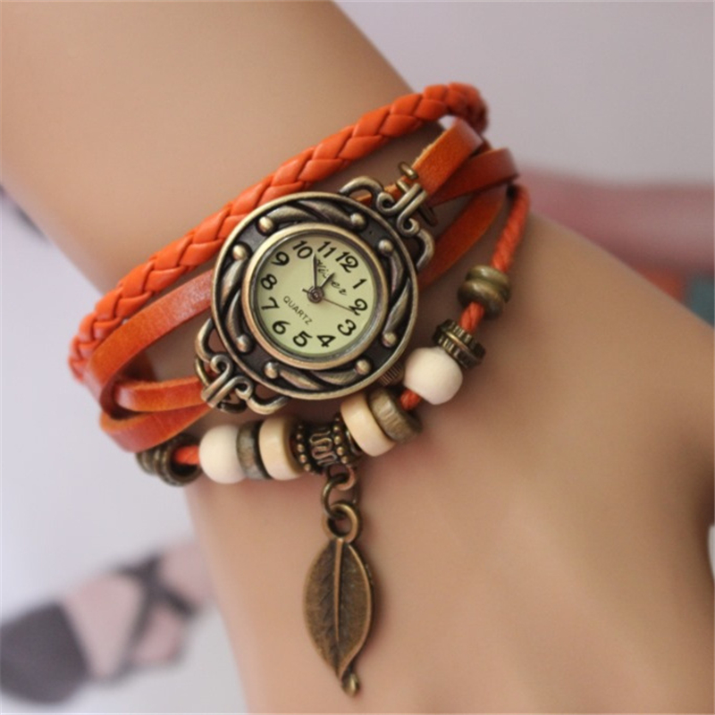 New Vintage Quartz Women Dress Watches Wrap Tree leaf Pendant Synthetic Leather Bracelet Wrist Watch High Quality Ladies Watch