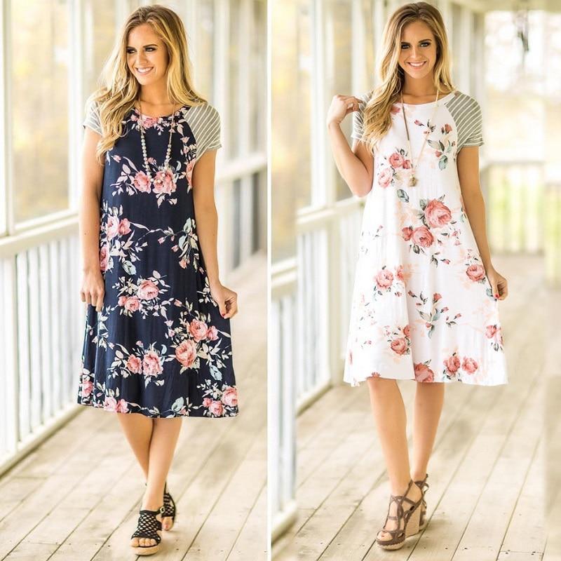 TEMOFON Women Summer Print Dresses Beach Casual Boho Dress Knee Length Patchwork Sundress Female Party Short Sleeve Dress ELD730