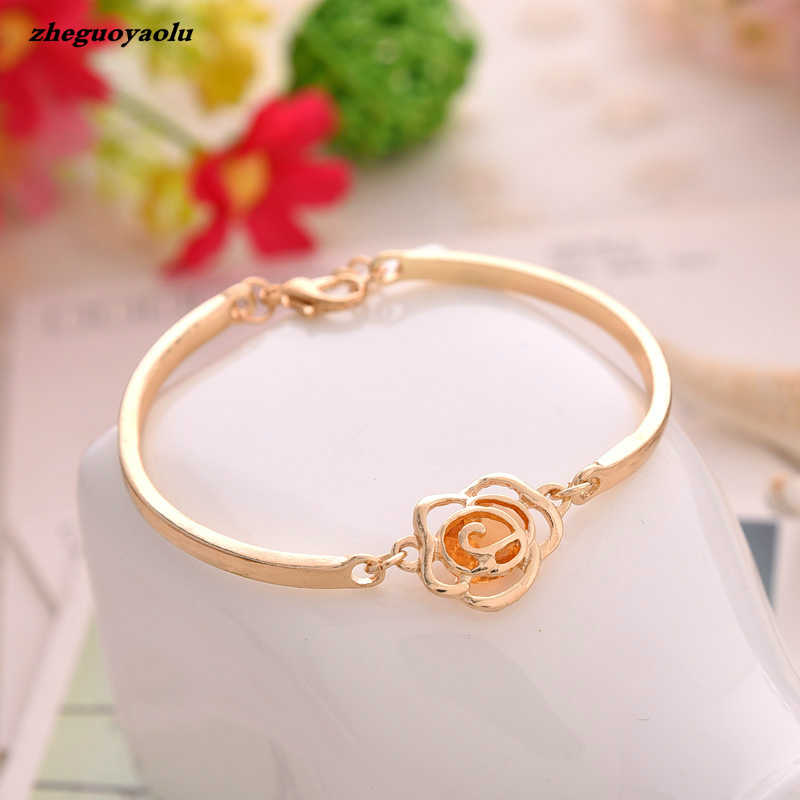 Korean Fashion Individuality Rose Tea Camellia Bracelets & Bangles Crystal Rhinestones Jewelry Bracelets For Womencharm Bracelet