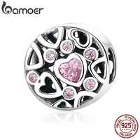 BAMOER High Quality 925 Sterling Silver Pink Stone Heart to Heart Beads Charms fit Women Bracelets & Necklaces Jewelry SCC054