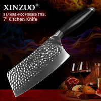 XINZUO 7'' Big Kitchen Knife Forged 3 Layer 440C Core Clad Steel Stainless Steel Chinese Kitchen Knife Vegetable Meat G10 Handle