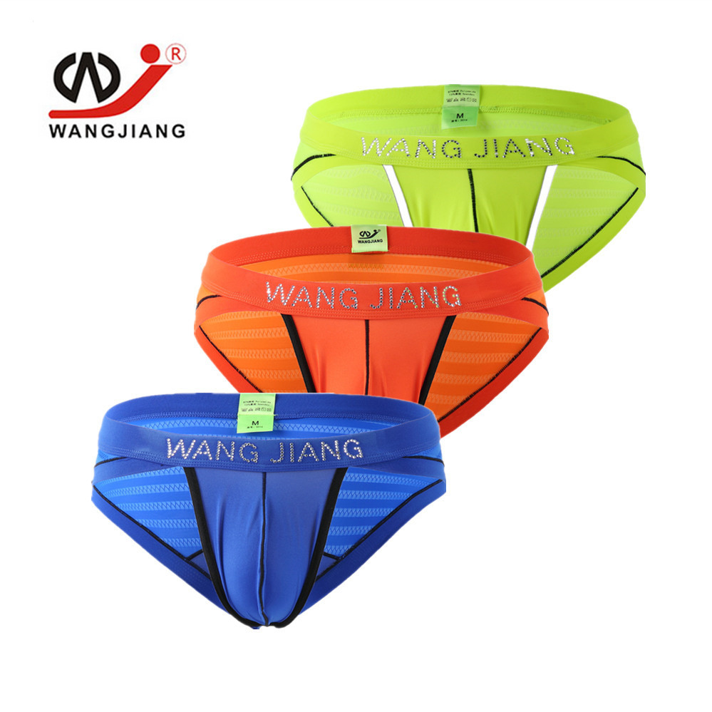3-PACK Color Famous Brand Bamboo Fiber Sexy Almost Naked Free pocket High Quality Men's briefs Men's Underwear Boys 3014DK-3 WJ
