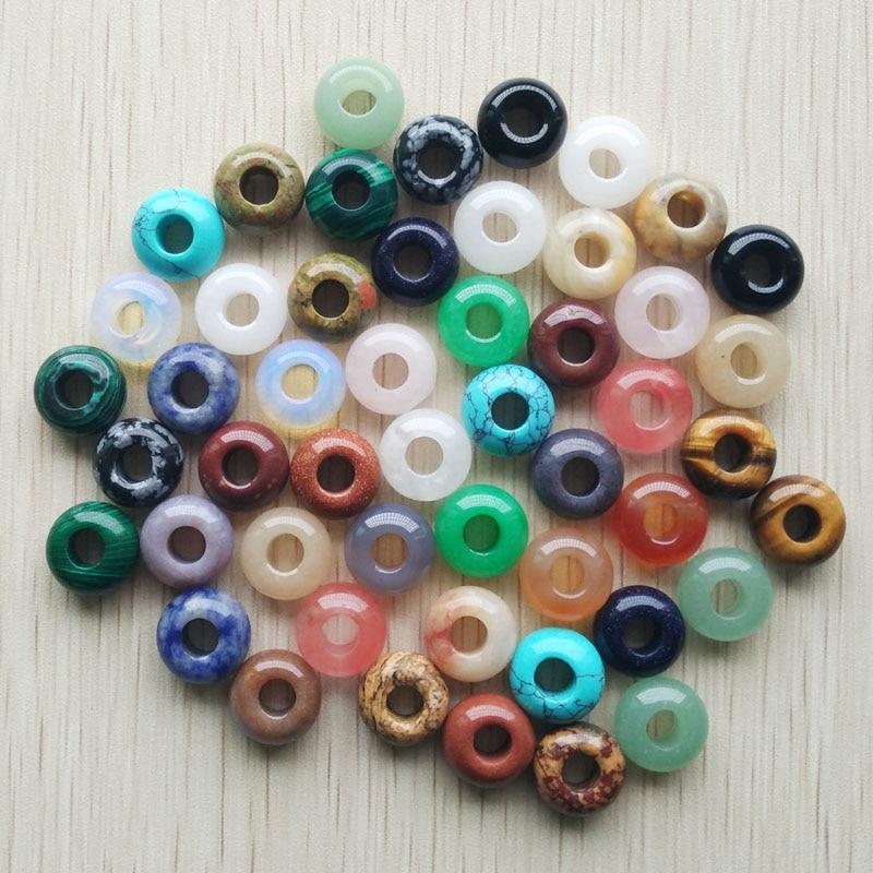 2019 Fashion good quality natural stone mixed round shape big hole beads For Bracelet Charms 50pcs/lot wholesale free shipping(China)
