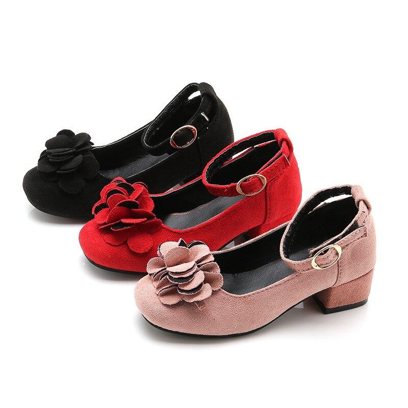 2cf0800a Zapatos para niños niñas zapatos de tacón alto cuero flor princesa zapatos  para fiesta baile grandes niños 2019 zapato 4 5 6 7 8 9 10 11 años