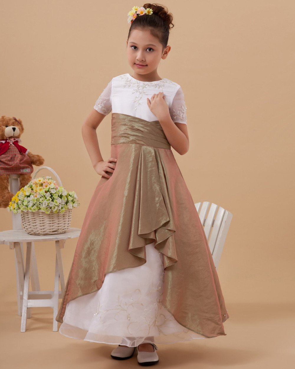Dress drawing picture more detailed picture about ankle length a ankle length a line short sleeve embroidery organza child kids girls bridesmaid dresses prom dresses ombrellifo Image collections