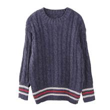 women's autumn winter high quality plus loose oversize basic wool knitted striped preppy thick warm pullover jumper sweater