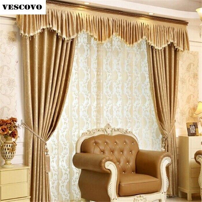 US $26.0 |Tende oscuranti classica europea high end tenda della moda tenda  di lusso di velluto in rilievo puro oro giallo Chiaro finestra del piano-in  ...