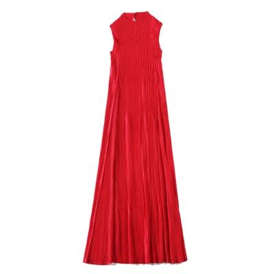 long D'une Robe Sans En Seule Pièce Solide Carré Manches rouge Red Moyen D'été Plissé Col noir Miyake Livraison Gratuite Beige rose Stock n0P8Okw
