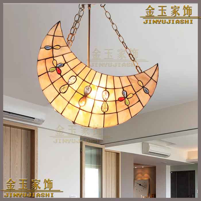 Mediterranean Tiffany shell moon shape pendant light Suspended Luminaire for children room Restaurant decorated lamp