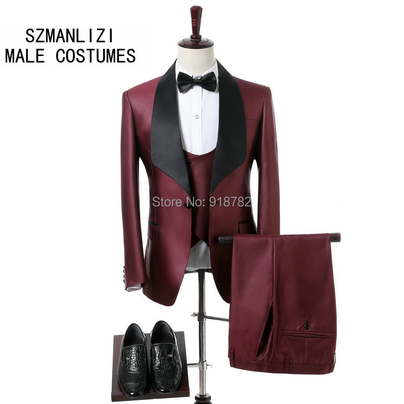 <font><b>Mens</b></font> <font><b>Wedding</b></font> <font><b>Suits</b></font> <font><b>2018</b></font> Shiny Burgundy Party Prom Formal <font><b>Men</b></font> <font><b>Suits</b></font> Custom Made <font><b>Terno</b></font> Slim Fit Groom <font><b>Wedding</b></font> Dress <font><b>Men</b></font> Tuxedo image