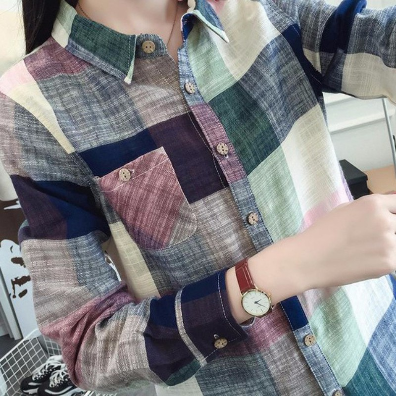 New Style Women Casual Cotton Long Sleeve Plaid   Shirt   Slim Outerwear   Blouse   Tops Ladies Office Bodycon Tops S4