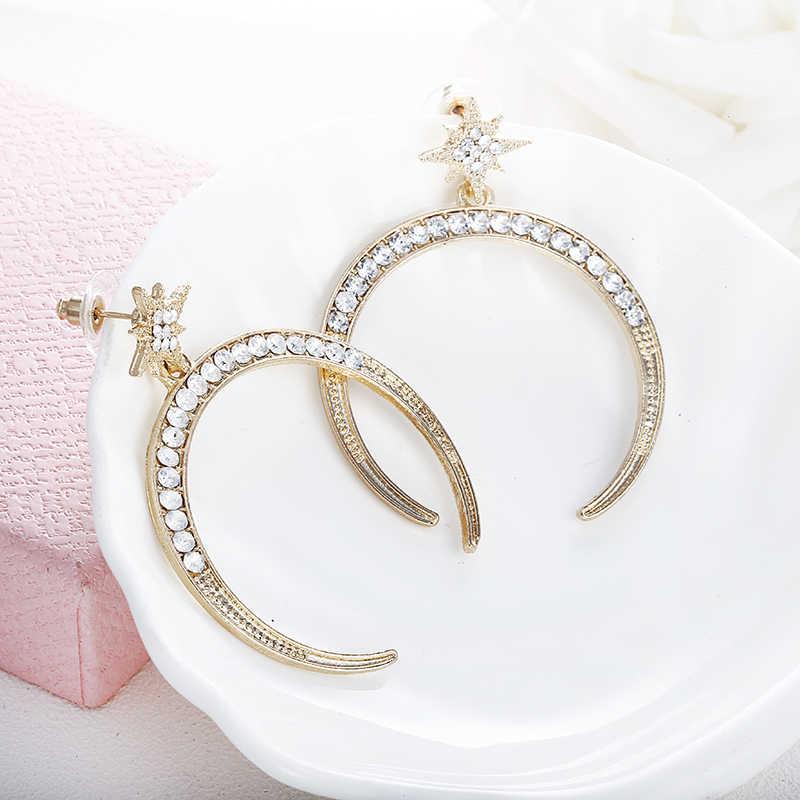 E0171 2018 новый дизайн асимметричные серьги для Для женщин Модная бижутерия кристаллы Луна и звезда планета Pendientes Горячие висячие серьги