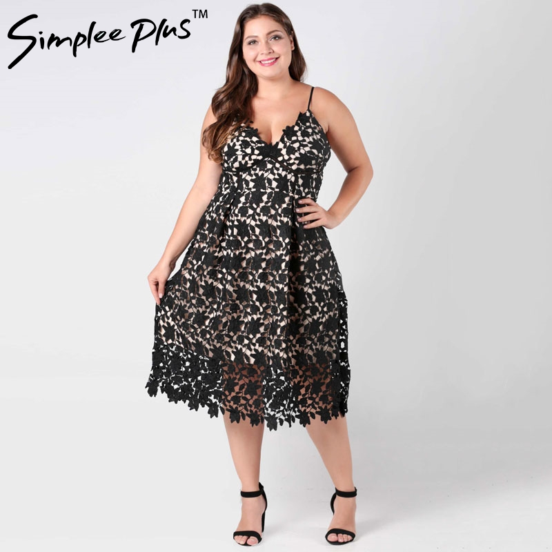 Simplee Plus Plus size strap vintage white lace dress Women v neck dresse High waist sexy backless midi dress vestidos big size