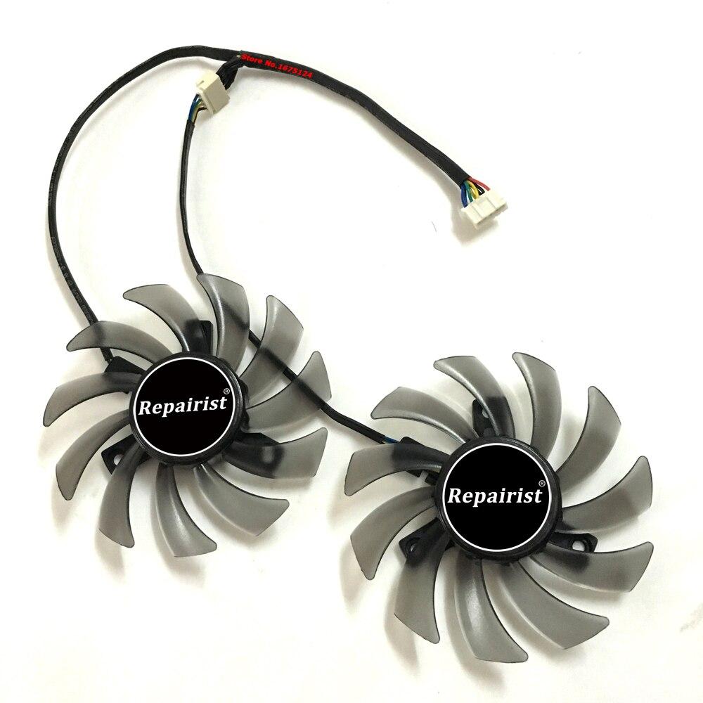 2 pcs/lot FD7010H12S T128010SH 75mm 5pin GPU Carte Graphique Ventilateur Refroidisseur Pour ASUS R9 270X Vidéo cartes de refroidissement