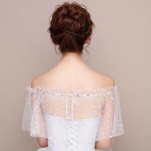 Image 3 - JaneVini białe gwiazdy lato ślub Wrap Mariage Off ramię zroszony dziewczyny Bolero czarny krótki Bridal Cape Lae Up kobiety kurtka