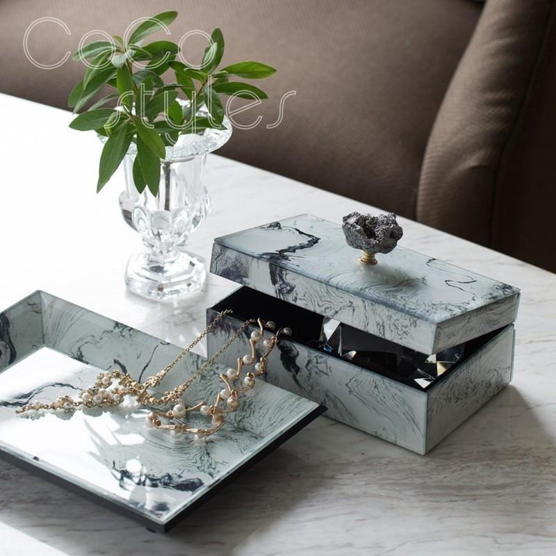 Cocostyles InsFashion haut de gamme rectangle boîtes à bijoux et plats avec décor pour moderne luxe décor à la maison
